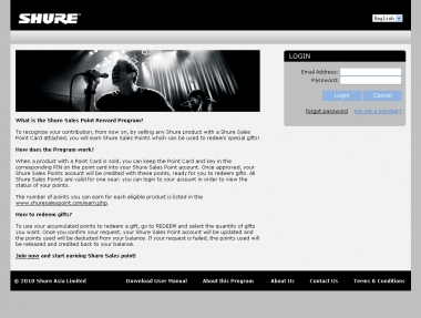 Shure Sales Bonus Point System for Asia
